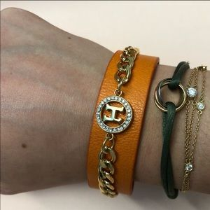 Hermes Rare Vintage Leather & Chain Bracelet